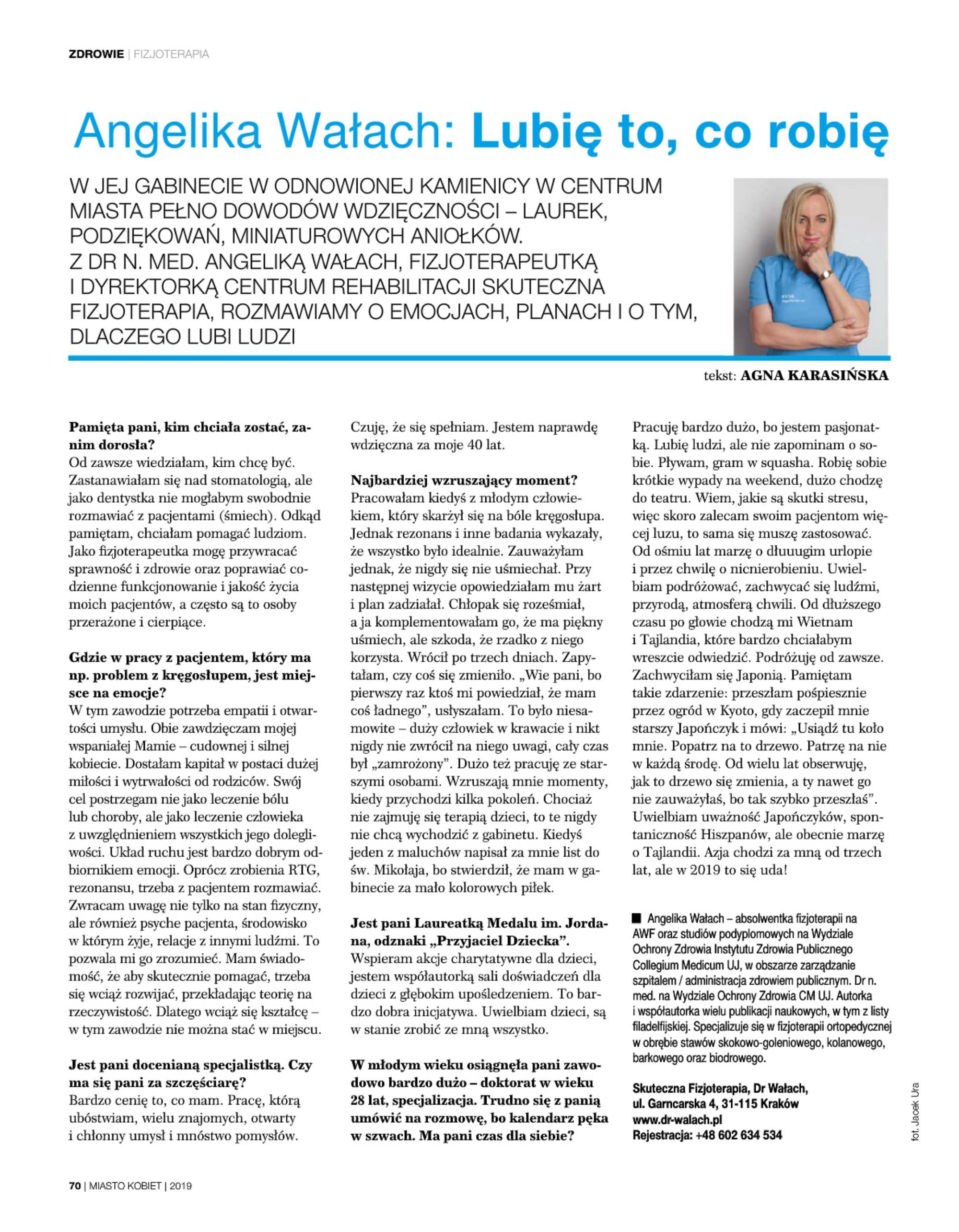 """""""Lubię to, co robię"""" – wywiad z dr Angeliką Wałach w magazynie """"Miasto Kobiet"""""""